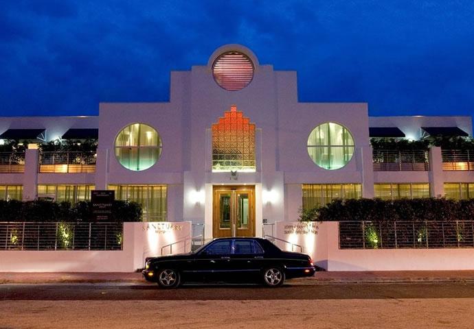 The Arte Deco entrance at the Sanctuary Hotel in Miami Beach